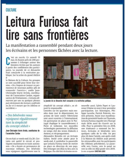 Leitura Furiosa fait lire sans frontières - Courrier Picard du 21 mai 2018