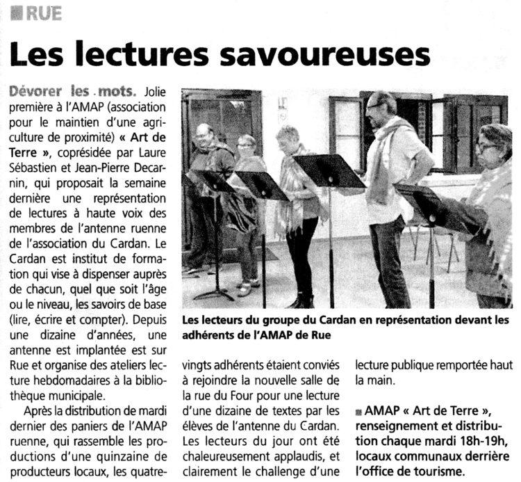 Rue, lecture à L'AMAP
