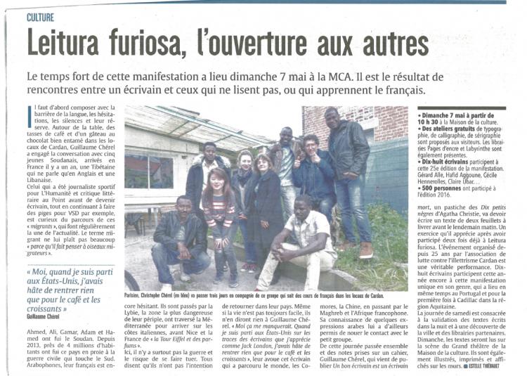Article du courrier picard du 6 mai 2017: Leitura Furiosa, l'ouverture aux autres